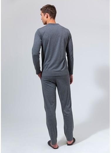 Dagi V Yaka Uzun Kollu Pijama Takımı Gri